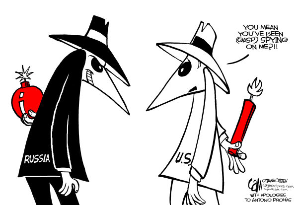 I Spy Cartoon Characters : Black white and shades of grey blundering espionage